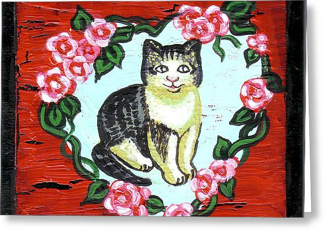 Cat In Heart Wreath 1 Greeting Card by Genevieve Esson
