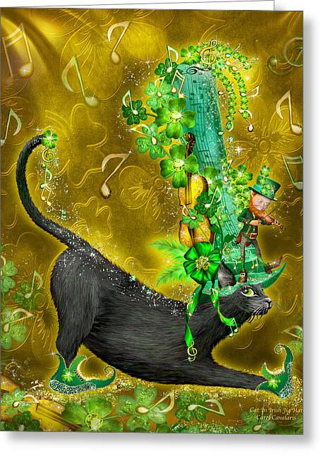 Hat Art Cat In Hat Art Greeting Cards - Cat In Irish Jig Hat Greeting Card by Carol Cavalaris