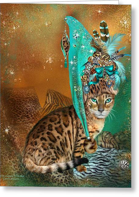 Hat Art Cat In Hat Art Greeting Cards - Cat In Leopard Trim Hat Greeting Card by Carol Cavalaris