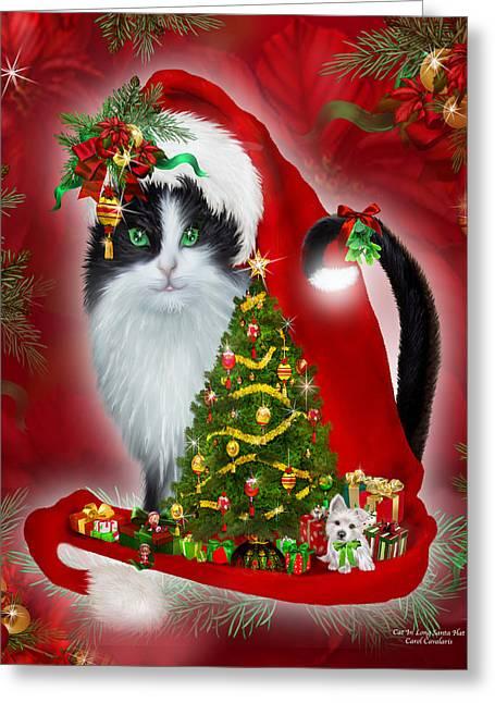 Cat Prints Mixed Media Greeting Cards - Cat In Long Santa Hat Greeting Card by Carol Cavalaris