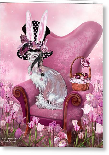 Mad Hatter Mixed Media Greeting Cards - Cat In Mad Hatter Hat Greeting Card by Carol Cavalaris