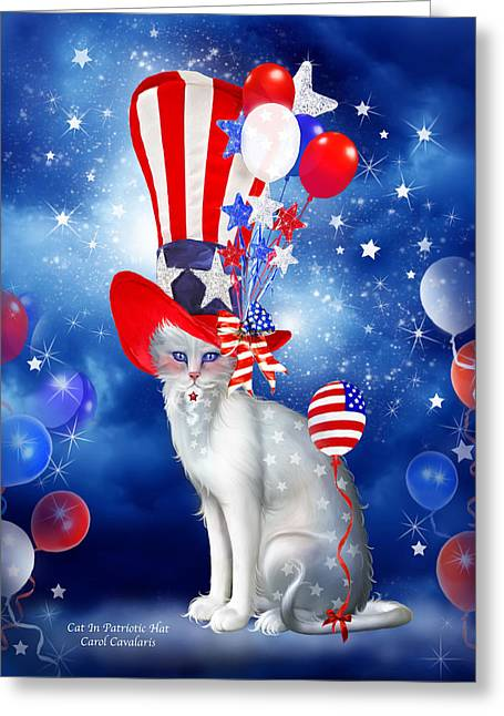 Hat Art Cat In Hat Art Greeting Cards - Cat In Patriotic Hat Greeting Card by Carol Cavalaris