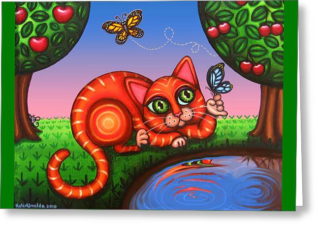 Hispanic Artists Greeting Cards - Cat in Reflection Greeting Card by Victoria De Almeida