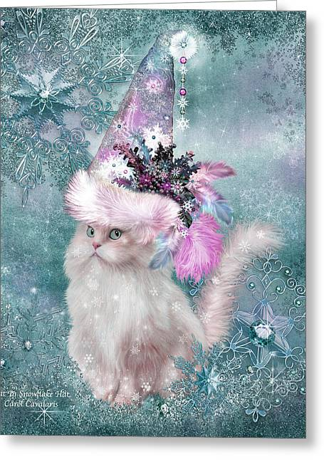 Hat Art Cat In Hat Art Greeting Cards - Cat In Snowflake Hat Greeting Card by Carol Cavalaris