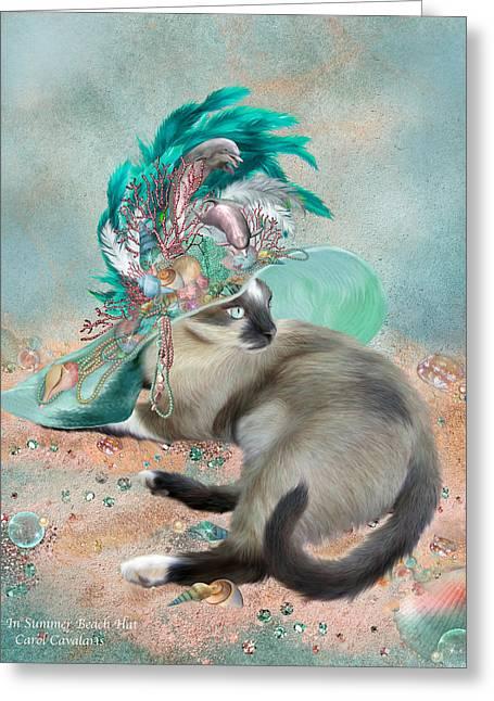Cat In Summer Beach Hat Greeting Card by Carol Cavalaris