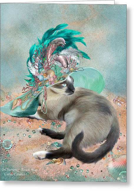 Whimsical Cat Art Greeting Cards - Cat In Summer Beach Hat Greeting Card by Carol Cavalaris