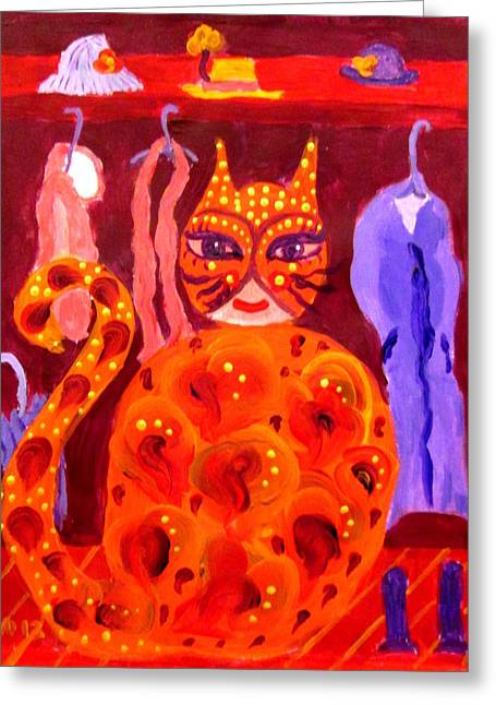 Coat Hanger Paintings Greeting Cards - Cat in the Closet Greeting Card by Linda  Lavid