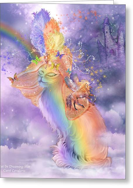 Rainbow Unicorn Art Print Greeting Cards - Cat In The Dreaming Hat Greeting Card by Carol Cavalaris