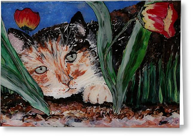 Whimsical Glass Art Greeting Cards - Cat in the Grass Greeting Card by Cathy Weaver