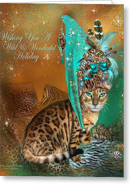 Hat Art Cat In Hat Art Greeting Cards - Cat In The Leopard Trim Santa Hat Greeting Card by Carol Cavalaris