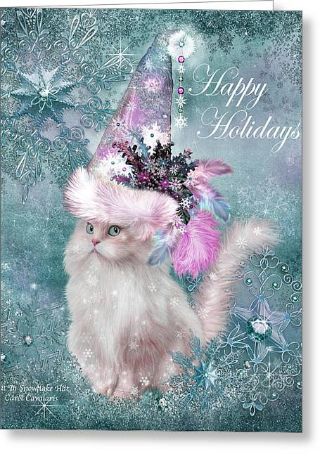 Christmas Art Greeting Cards - Cat In The Snowflake Santa Hat Greeting Card by Carol Cavalaris