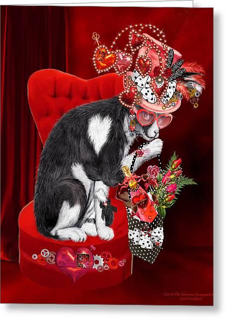 Cat In The Valentine Steam Punk Hat Greeting Card by Carol Cavalaris