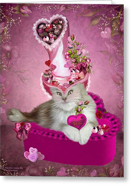Cat In Valentine Candy Hat Greeting Card by Carol Cavalaris