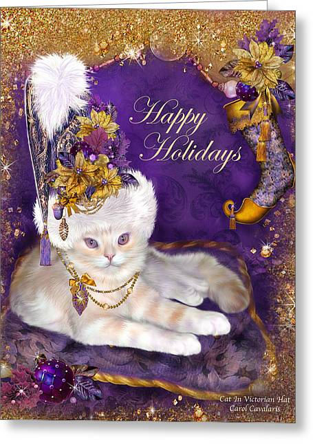 Hat Art Cat In Hat Art Greeting Cards - Cat In Victorian Santa Hat Greeting Card by Carol Cavalaris