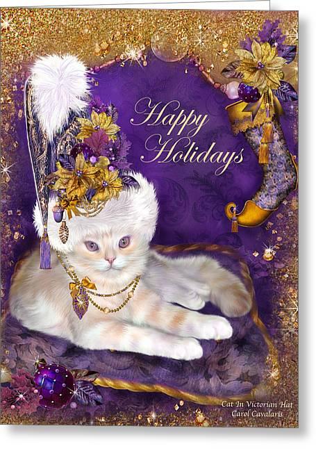 Cat In Victorian Santa Hat Greeting Card by Carol Cavalaris