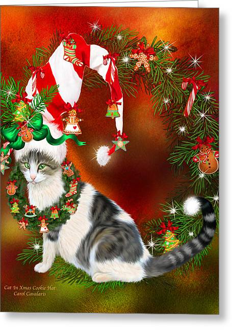 Hat Art Cat In Hat Art Greeting Cards - Cat In Xmas Cookie Hat Greeting Card by Carol Cavalaris