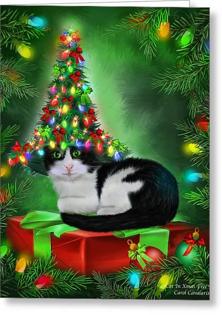 Cat In Xmas Tree Hat Greeting Card by Carol Cavalaris