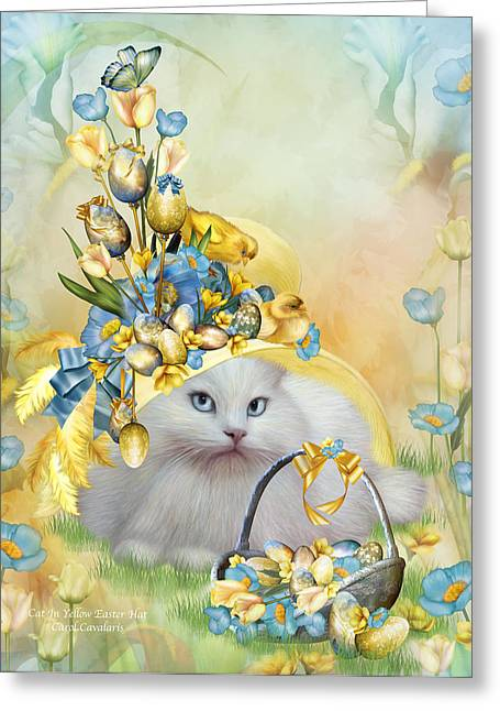 Whimsical Cat Art Greeting Cards - Cat In Yellow Easter Hat Greeting Card by Carol Cavalaris