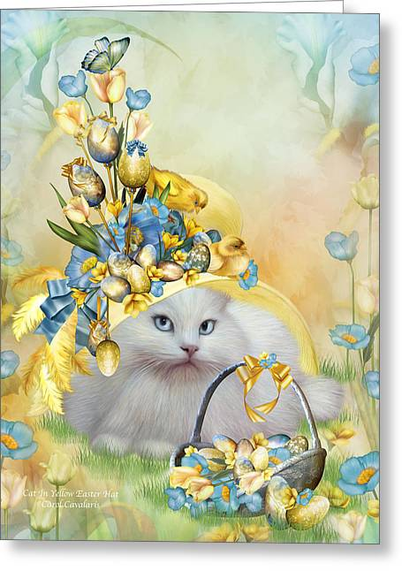 Hat Art Cat In Hat Art Greeting Cards - Cat In Yellow Easter Hat Greeting Card by Carol Cavalaris