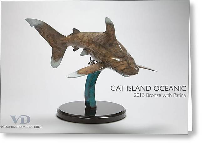 White Shark Sculptures Greeting Cards - Cat Island Oceanic Greeting Card by Victor Douieb