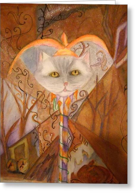Hebert Greeting Cards - Cat Jester Greeting Card by Marian Hebert