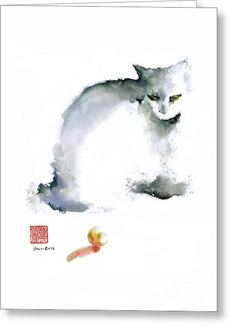 Cat Kitten Blue Animal Grey Ball Cute Fun Animals Watercolor Painting Greeting Card by Johana Szmerdt