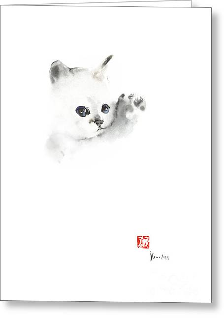 Cat Kitten Pure Animal Grey White Blue Delicate Cute Fun Animals Pet Watercolor Painting Greeting Card by Johana Szmerdt