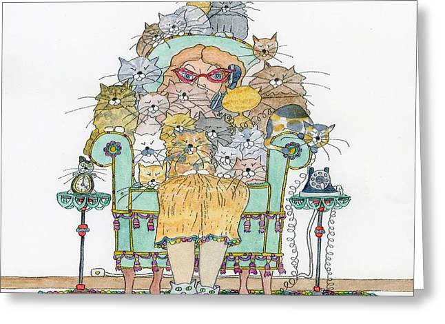 Cat Lady - In Chair Greeting Card by Mag Pringle Gire