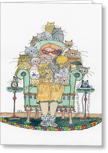 Gray Hair Greeting Cards - Cat Lady - In Chair Greeting Card by Mag Pringle Gire