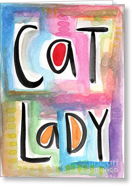 Blue Cat Greeting Cards - Cat Lady Greeting Card by Linda Woods
