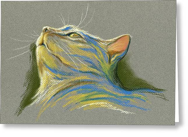 Stripes Pastels Greeting Cards - Cat Looking up to Heaven Greeting Card by MM Anderson