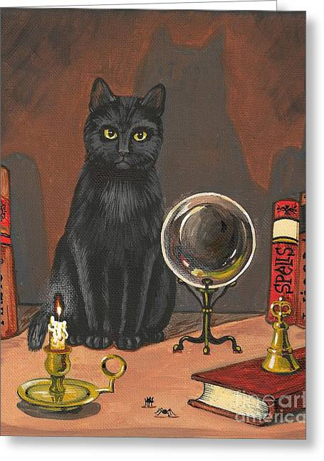 Dominatrix Greeting Cards - Cat Magic Greeting Card by Margaryta Yermolayeva