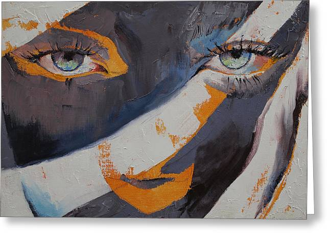 Cat Woman Greeting Cards - Cat Greeting Card by Michael Creese