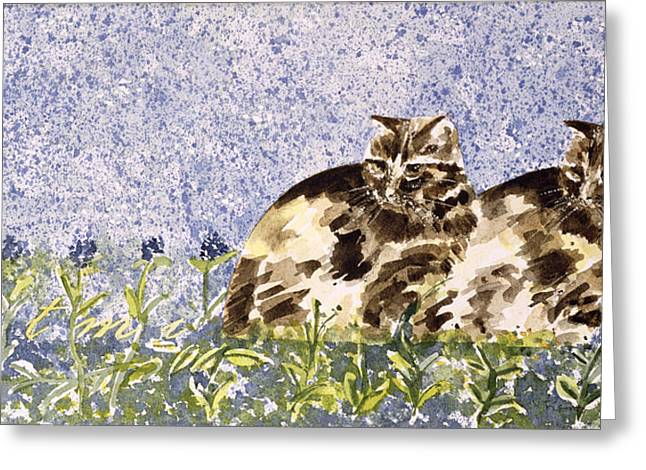 Tabby Greeting Cards - Cat Mint Wc On Paper Greeting Card by Suzi Kennett