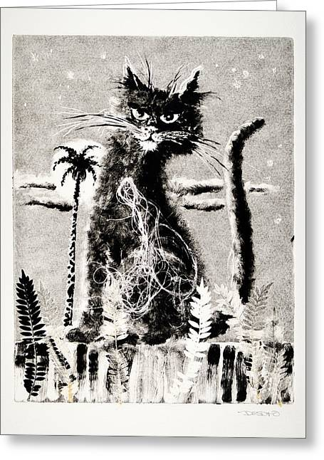 Print Reliefs Greeting Cards - Cat Mono-Print 1 Greeting Card by Ben De Soto
