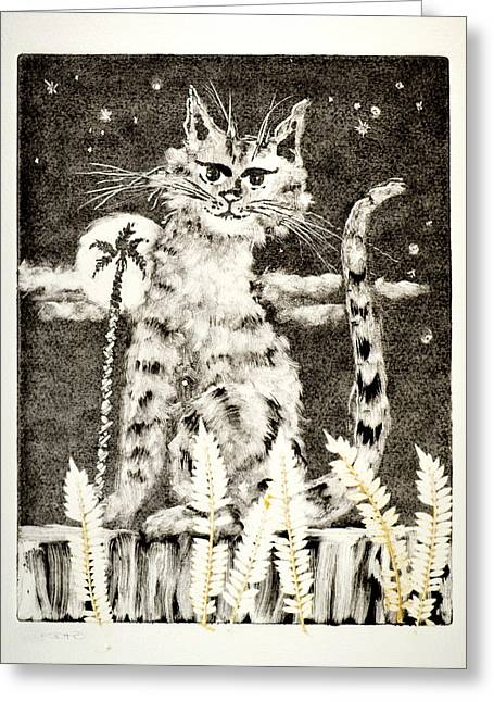 Print Reliefs Greeting Cards - Cat Mono-Print 3 Greeting Card by Ben De Soto