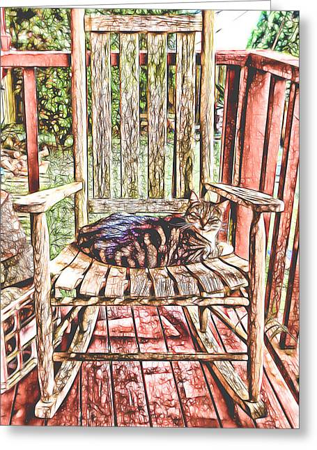 Rocking Chairs Mixed Media Greeting Cards - Cat Nap Interrupted Greeting Card by Pamela Walton