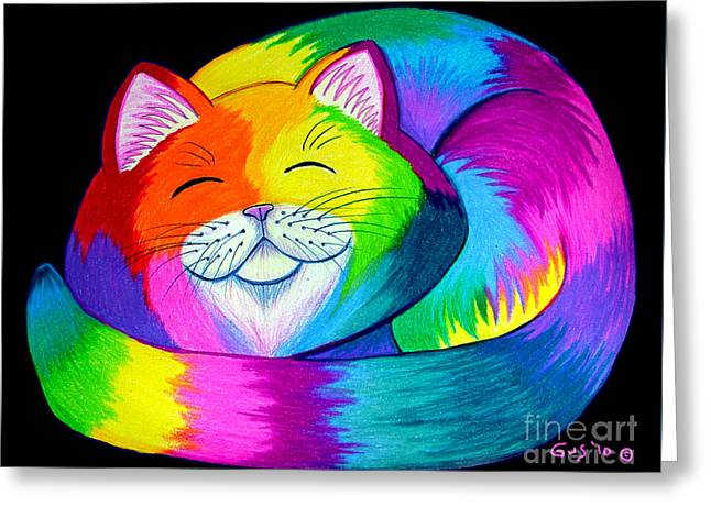 Colorful Creatures Drawings Greeting Cards - Cat Napping 2 Greeting Card by Nick Gustafson