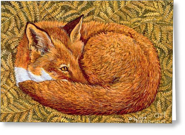 Fox Greeting Cards - Cat Napping Greeting Card by Ditz