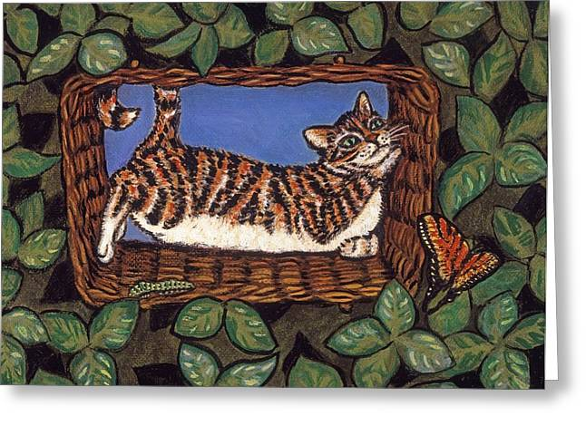 Cat Greeting Cards - Cat Napping Greeting Card by Linda Mears