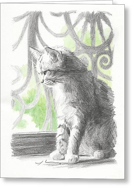Screen Doors Drawings Greeting Cards - Cat Near Screen Door Watercolor Portrait Greeting Card by Mike Theuer