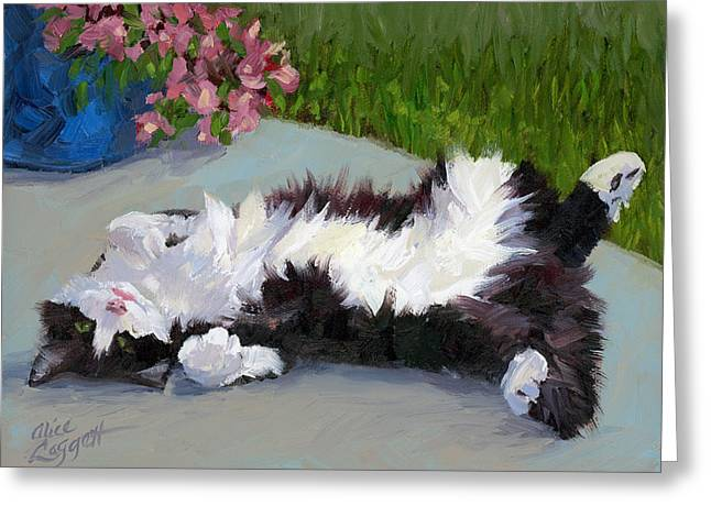 Blue Cat Greeting Cards - Cat on a Hot Day Greeting Card by Alice Leggett