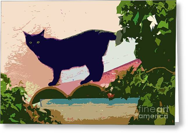 Moggy Greeting Cards - Cat on a Hot Tile Roof Greeting Card by Barbie Corbett-Newmin