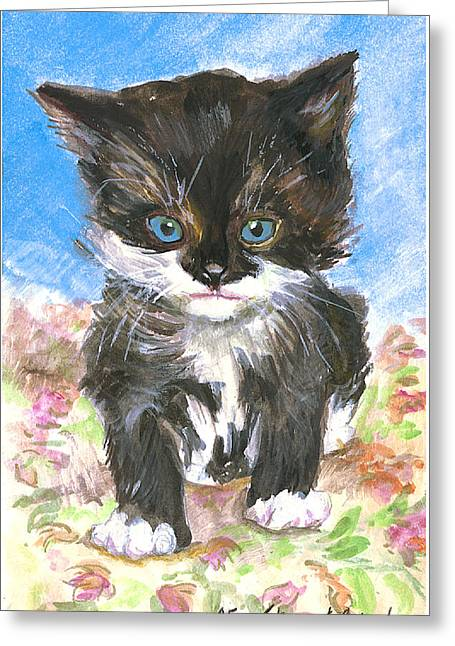Cat On Bedspread Greeting Card by Alice Grimsley