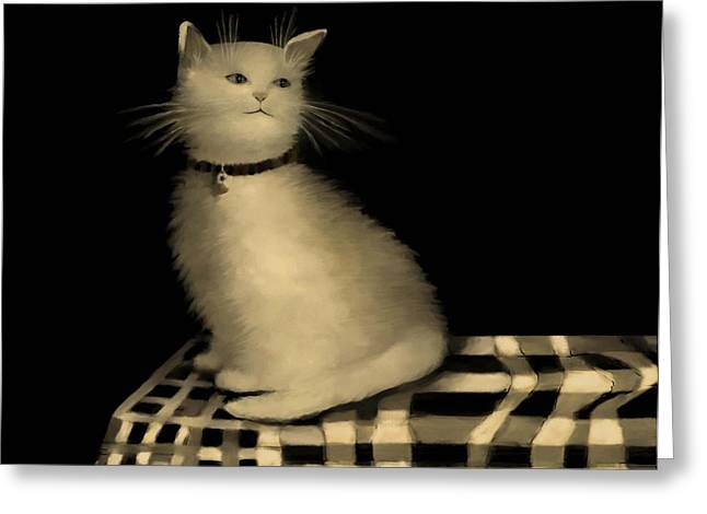 Checker Pastels Greeting Cards - Cat on Checkered Tablecloth   No. 1 Greeting Card by Diane Strain