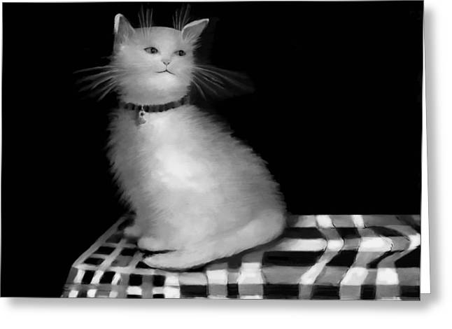 Fineartamerica Drawings Greeting Cards - Cat on Checkered Tablecloth   No. 3 Greeting Card by Diane Strain
