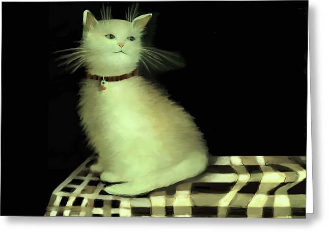 Checker Pastels Greeting Cards - Cat on Checkered Tablecloth   No. 4 Greeting Card by Diane Strain