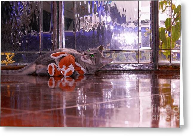 Cat On Back Greeting Cards - Cat On  His Back Greeting Card by John  Kolenberg