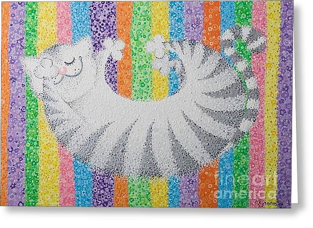 Oracular Greeting Cards - Cat On Rainbow Greeting Card by Grass Hopper