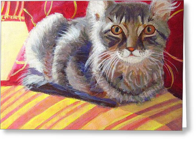 Robie Benve Greeting Cards - Cat on Red Chair Greeting Card by Robie Benve